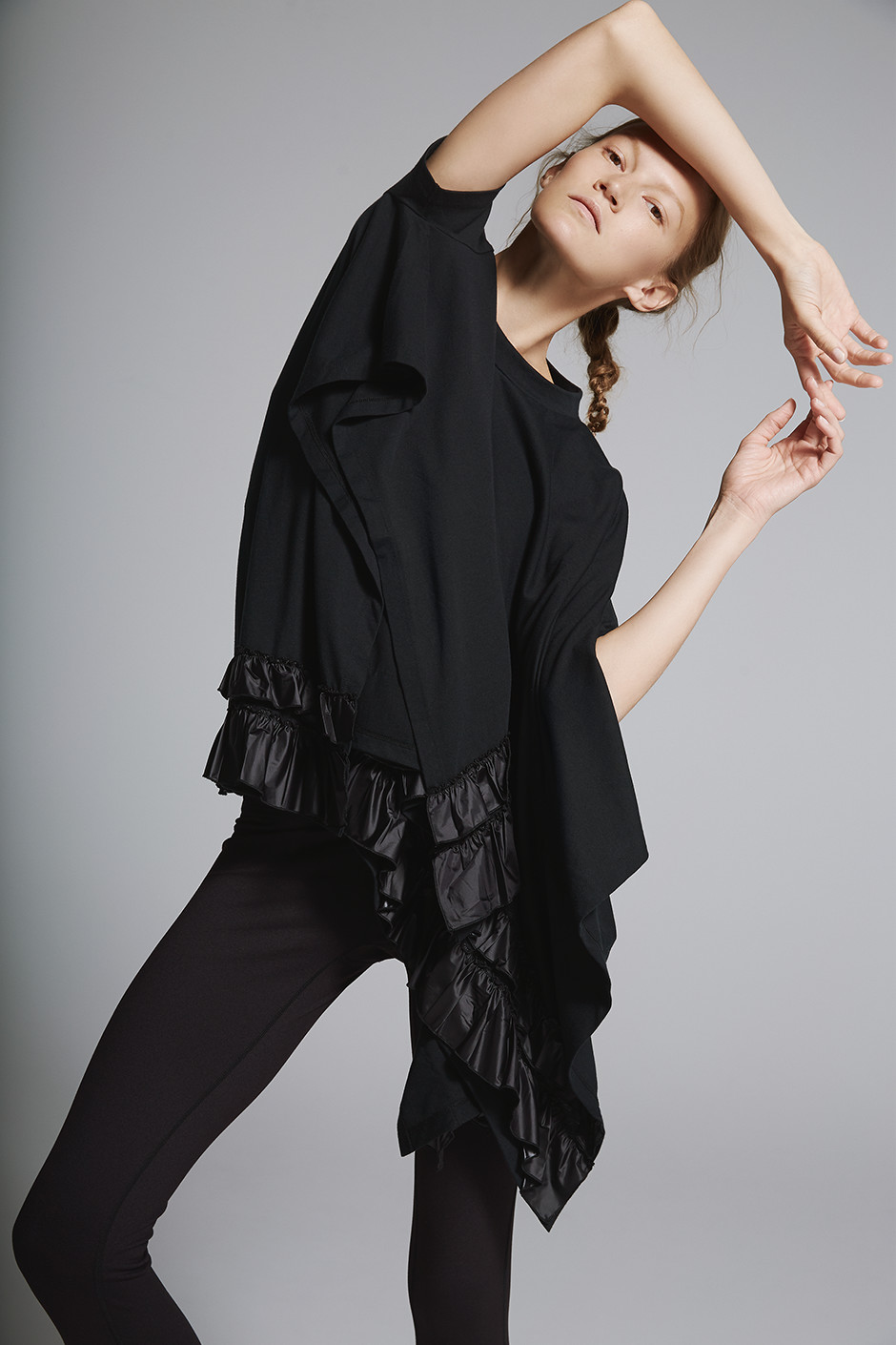 HALF SLEEVE FRILL TEE DARK5732|ANY MOTION LONG DA25301
