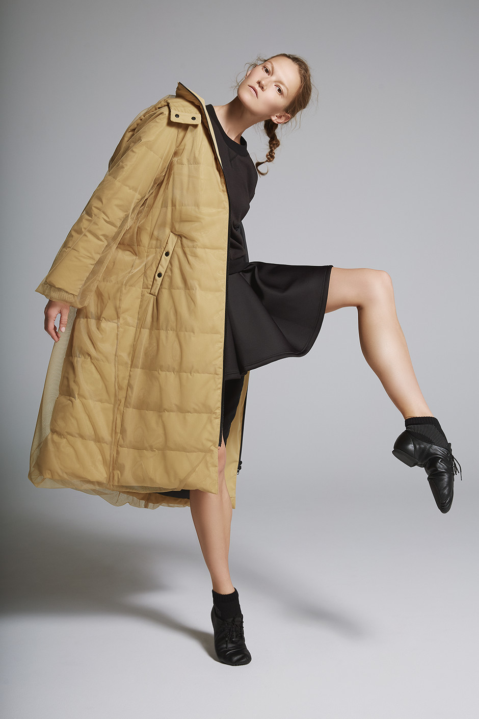 TULLE DOWN COAT DARK3733|SWEAT ONE-PIECE DARK5731